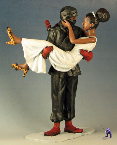 Romantic Ninja across the threshold cake topper