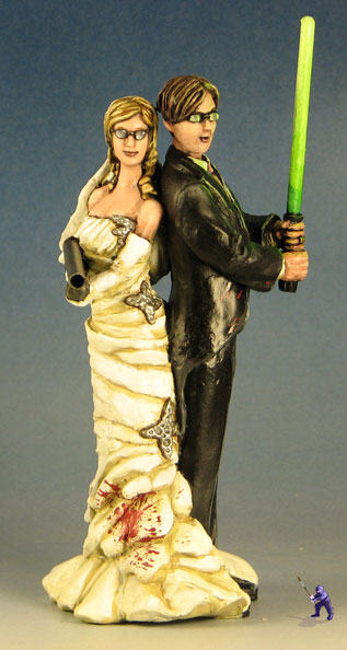 Zombie Killer Wedding Cake Topper